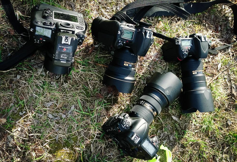 Alle aktuell verfügbaren Nikon FX-Kameras auf einem Haufen (D600, D700, D800, D4)